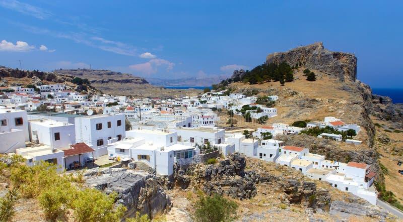 Lindos-Stadtpanorama, Rhodos, Griechenland lizenzfreie stockbilder