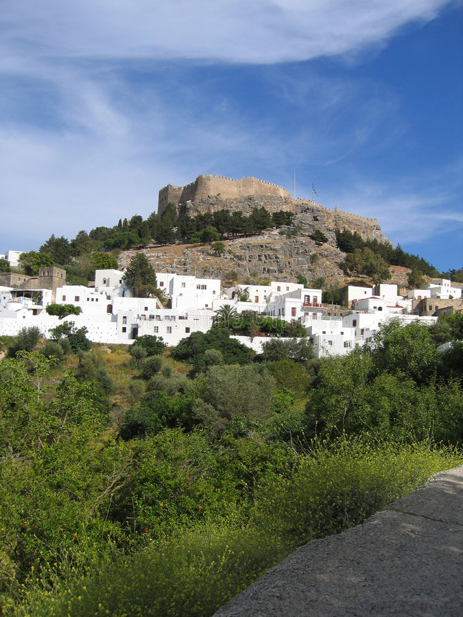 Download Lindos Town stock photo. Image of acropolis, greek, small - 464150