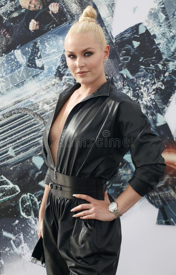 Lindsey Vonn. At the World premiere of `Fast & Furious Presents: Hobbs & Shaw` held at the Dolby Theatre in Hollywood, USA on July 13, 2019 stock images