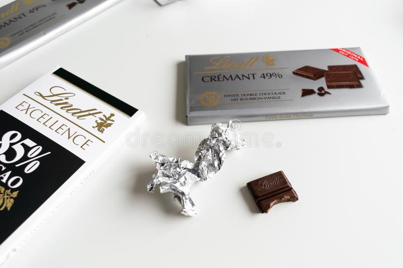 Lindt chocolate bar. Crémant 49%, Excellence, 85% Cacao, rich dark stock photography