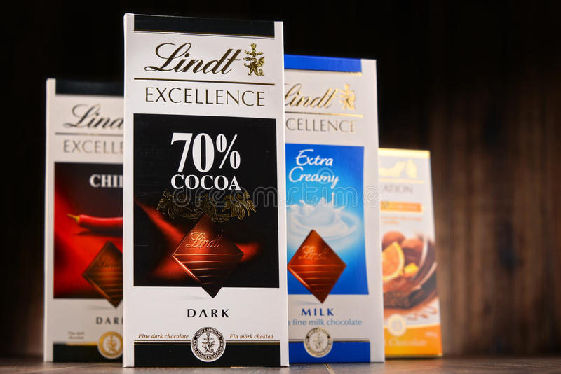 Lindt chocolate bars of different tastes. POZNAN, POLAND - OCT 11, 2016: Founded in 1845 Lindt & Spruengli AG is a Swiss chocolatier and confectionery company stock images