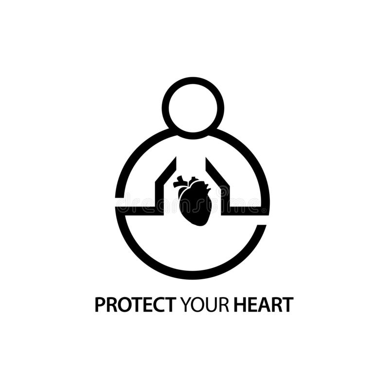 People with heart icon. Concept of love your heart . royalty free illustration