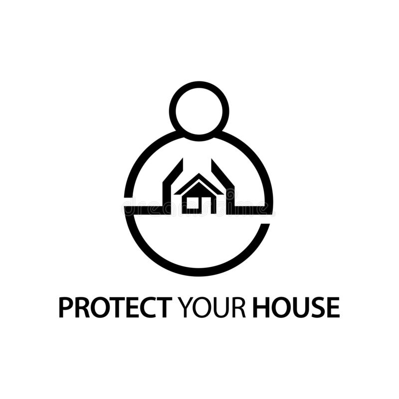People with house icon. Concept of love your house . royalty free illustration
