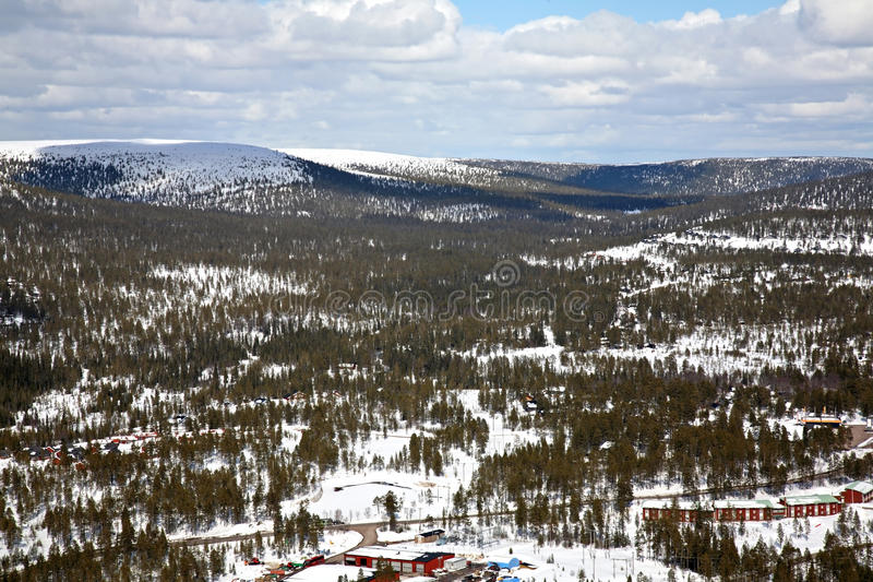 Lindvallen semesterorten skidar Salen Dalarna County sweden arkivfoton