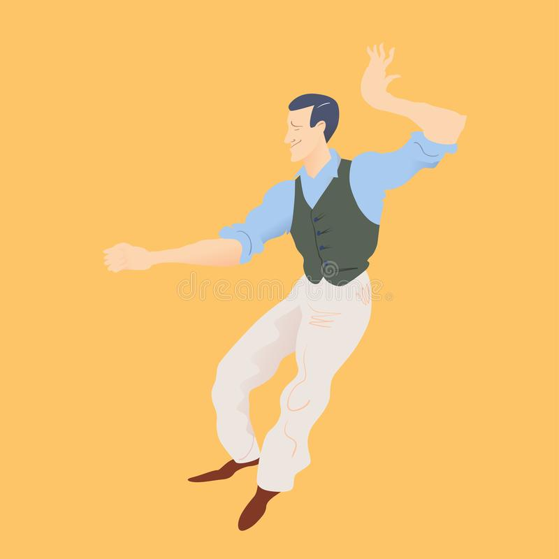 Lindy flygtur för mandans Stilfull retro man i byxa, blå skjorta och gräsplanwaistcoat också vektor för coreldrawillustration stock illustrationer