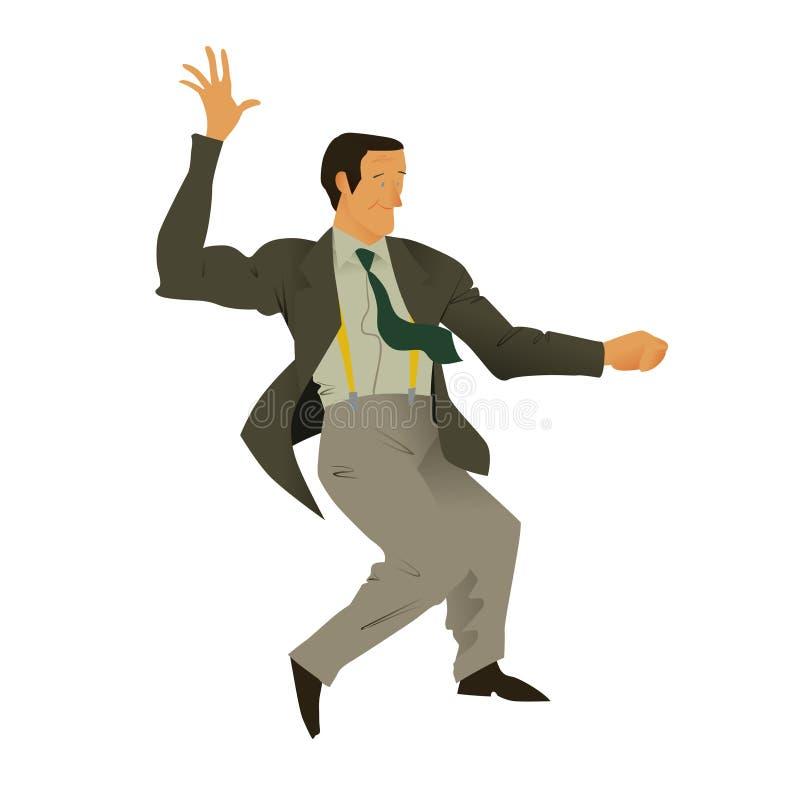 Lindy flygtur för mandans Stilfull retro man i grått byxa och omslag, grönt band och gul hänglsen Plan vektorillustration stock illustrationer