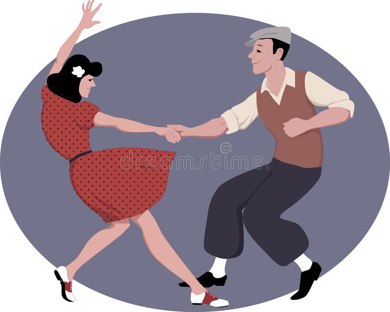 Lindy Hop dancing. Young couple dressed in late 1940s fashion clothes dancing lindy hop, vector illustration stock illustration