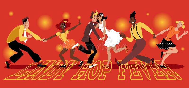 Lindy Hop Fever royaltyfri illustrationer