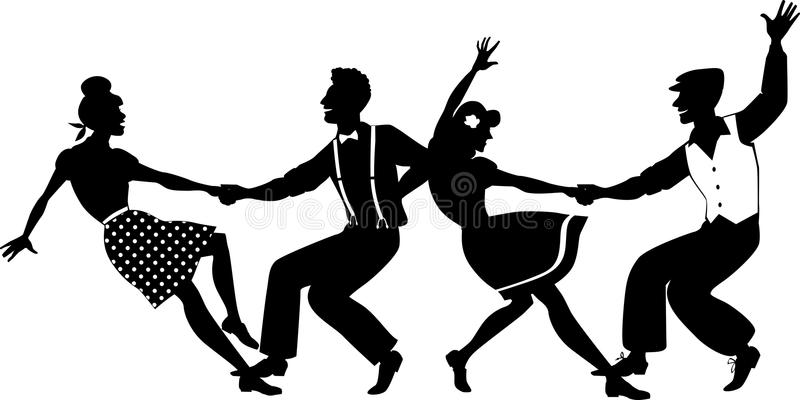 Lindy hop party. Vector silhouette of two young couple dressed in 1940s fashion dancing lindy hop or swing in a formation, no white objects, EPS 8 royalty free illustration