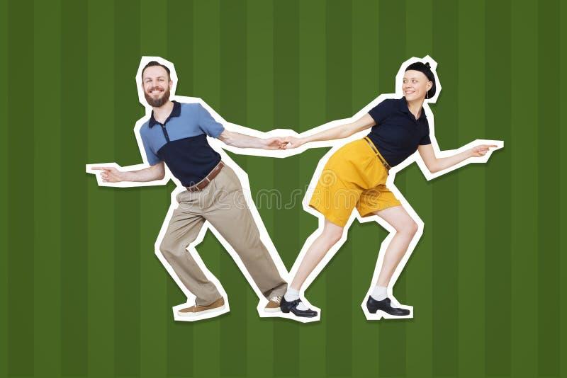 Lindyhop of rots` n ` de dansers van de broodjesdans boogie woogie royalty-vrije stock foto
