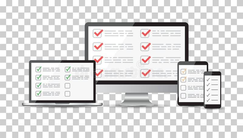On-line-Übersicht, Checklistensatz Tablet, Computer, mobiler Störungsbesuch des freien Raumes lizenzfreie abbildung