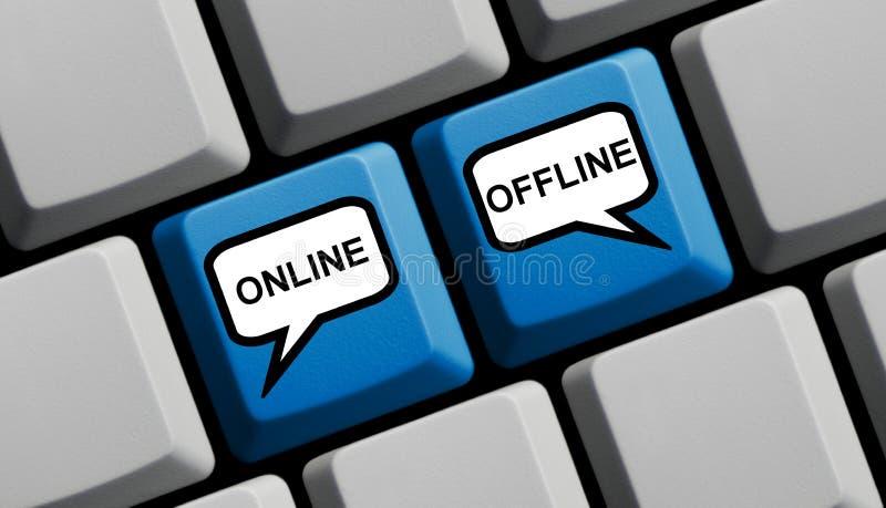 On-line ή off-$l*line στο μπλε πληκτρολόγιο υπολογιστών διανυσματική απεικόνιση