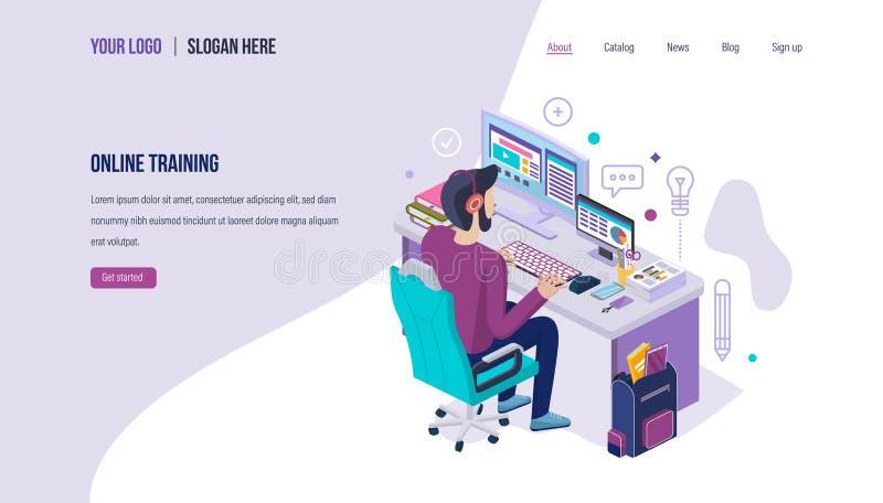 On-line εκπαιδευτικός Σύγχρονη απόσταση ε-που μαθαίνει, εκπαίδευση σχολικού Διαδικτύου, επιχείρηση webinars απεικόνιση αποθεμάτων