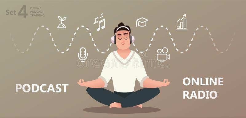 On-line εκπαιδευτικός, podcast, ραδιόφωνο απεικόνιση αποθεμάτων