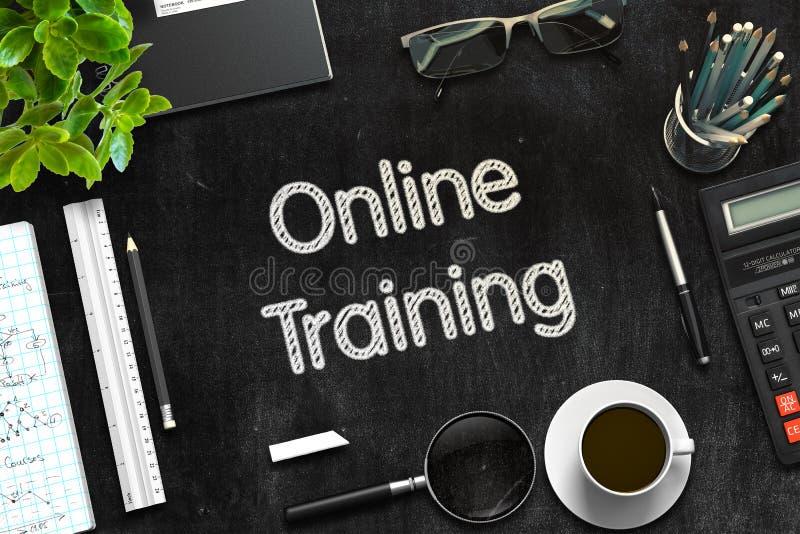 On-line εκπαιδευτικός στο μαύρο πίνακα κιμωλίας τρισδιάστατη απόδοση στοκ εικόνα