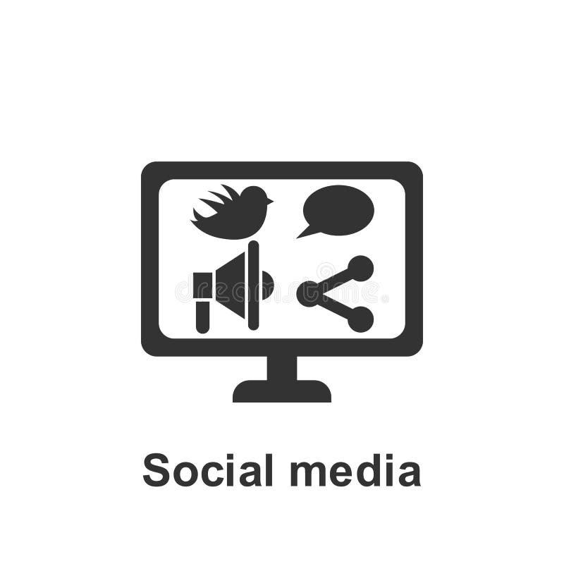 On-line εμπορικός, κοινωνικό εικονίδιο μέσων Στοιχείο του σε απευθείας σύνδεση εικονιδίου μάρκετινγκ r r απεικόνιση αποθεμάτων