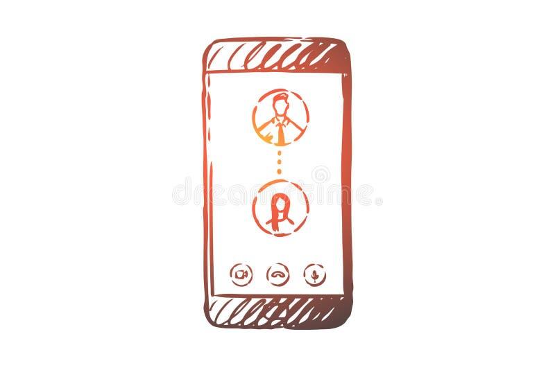 On-line, κλήση, κινητή, τηλέφωνο, έννοια επικοινωνίας Συρμένο χέρι απομονωμένο διάνυσμα διανυσματική απεικόνιση