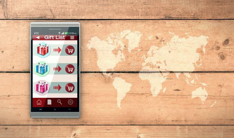 On-line να ψωνίσει και δώρα διανυσματική απεικόνιση