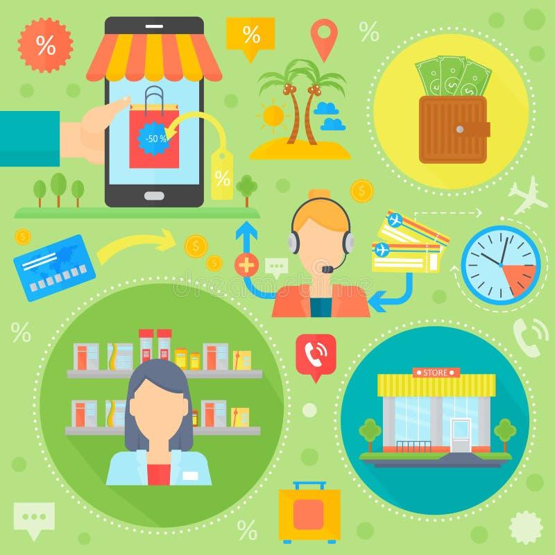 On-line να ψωνίσουν, το κινητό μάρκετινγκ και τα ψηφιακά εικονίδια προτύπων infographics μάρκετινγκ στους κύκλους σχεδιάζουν, επι διανυσματική απεικόνιση