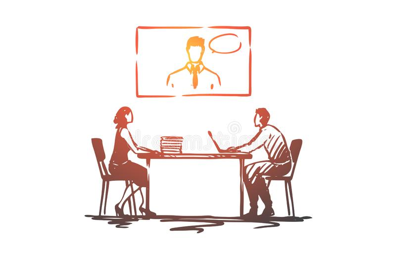 On-line, συνάντηση, γραφείο, διάσκεψη, επιχειρησιακή έννοια Συρμένο χέρι απομονωμένο διάνυσμα ελεύθερη απεικόνιση δικαιώματος