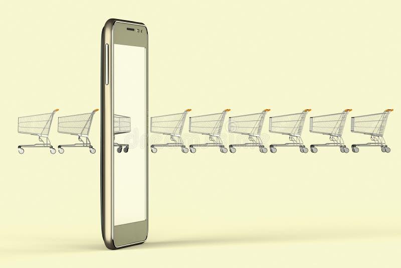 On-line ψωνίζοντας με τις κινητές συσκευές ελεύθερη απεικόνιση δικαιώματος