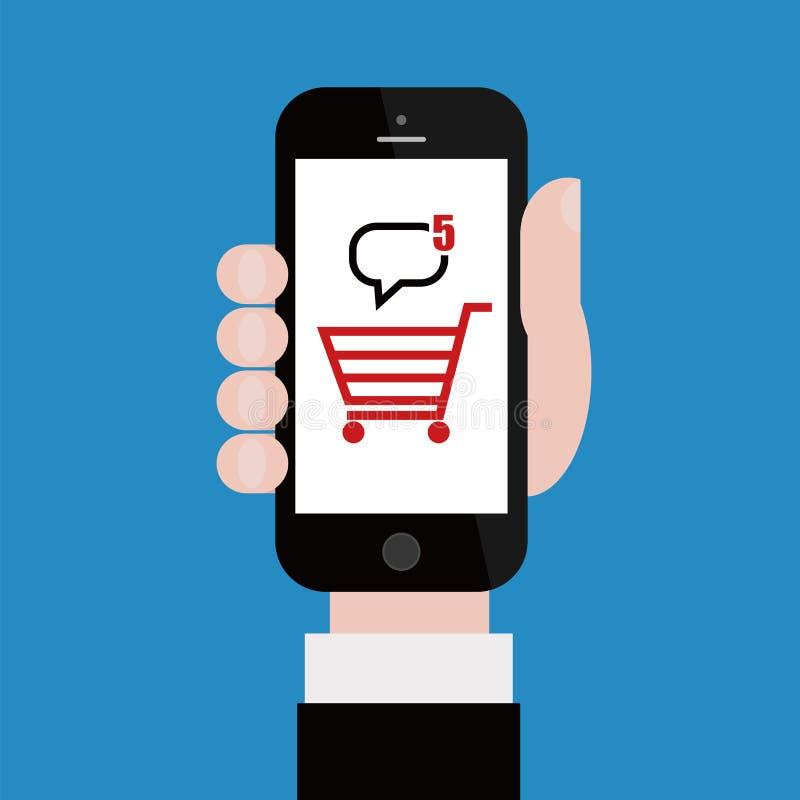 On-line ψωνίζοντας με το κινητό τηλέφωνο διανυσματική απεικόνιση