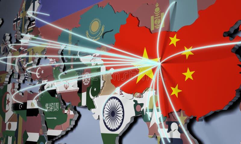 On-line ψωνίζοντας στην τρισδιάστατη απεικόνιση παγκόσμιων χαρτών έννοιας της Κίνας ελεύθερη απεικόνιση δικαιώματος