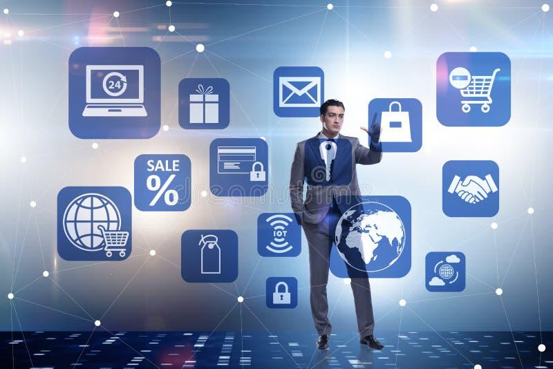 Ο επιχειρηματίας στην έννοια on-line εμπορικών συναλλαγών και αγορών διανυσματική απεικόνιση