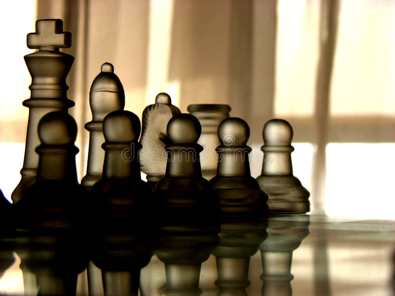 In the Line. The soldiers in chess in line royalty free stock photo