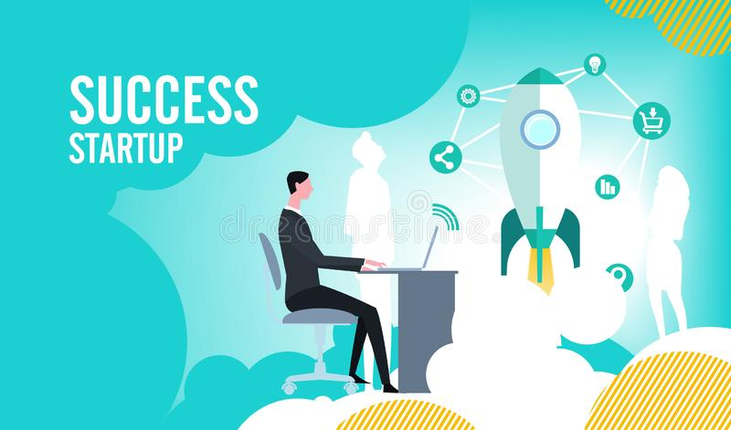 On-line-Abschluss des Geschäfts die Eröffnung eines neuen Starts lizenzfreie abbildung