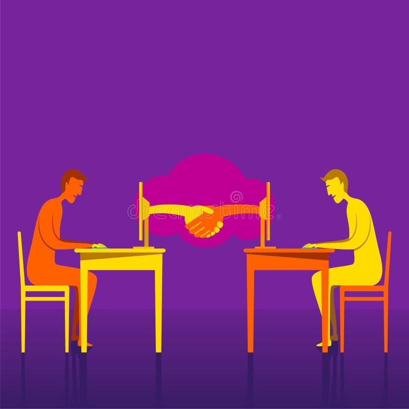 On-line affärsavtal genom att använda internetdesign stock illustrationer