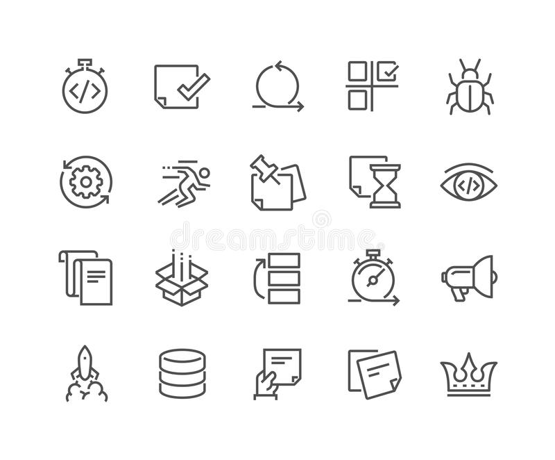 Line Agile Development Icons vector illustration