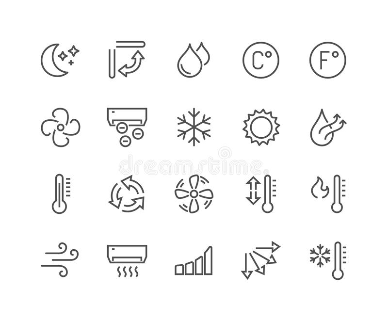 Line Air Conditioning Icons. Simple Set of Air Conditioning Related Vector Line Icons. Contains such Icons as Cool, Humidity, Airing, Ionisation and more royalty free illustration