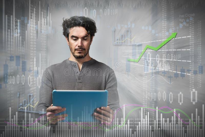 On-line-Aktienhandelmann stockfotos