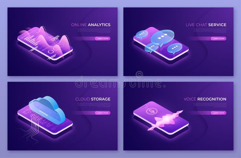 On-line-Analytics, Liveschwätzchenservice, Wolkentechnologien, Stimme r vektor abbildung