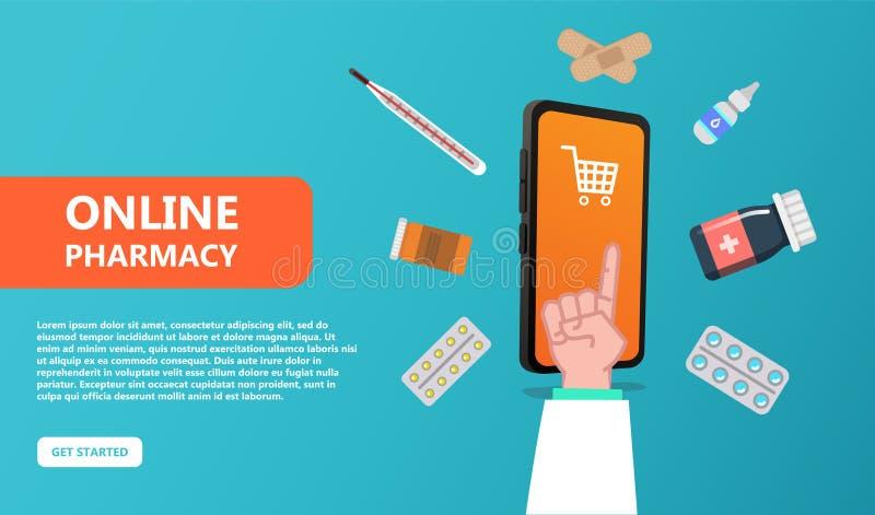On-line-Apothekenkonzept Gesundheitspflege und Medizin vektor abbildung