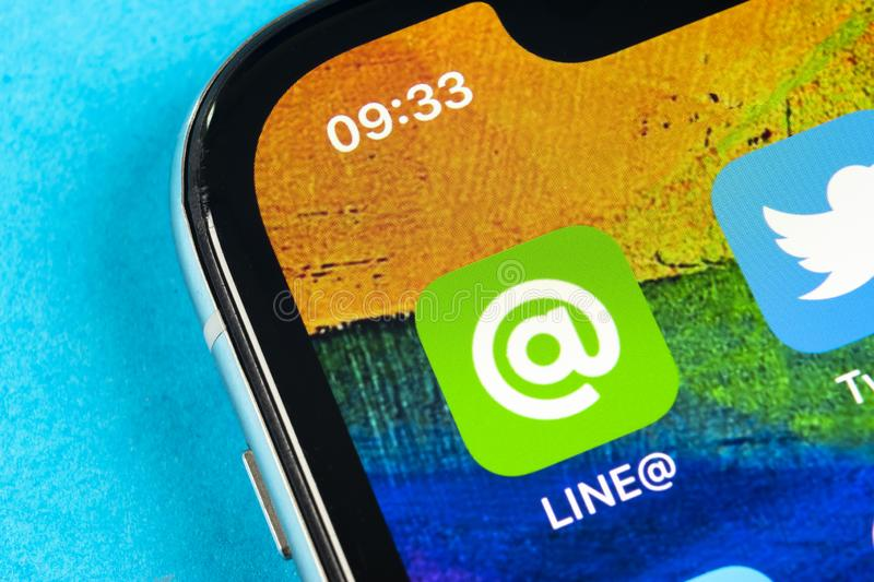 Line application icon on Apple iPhone X screen close-up. Line app icon. Line is an online social media network. Social media app. Helsinki, Finland, May 4, 2019 royalty free stock images