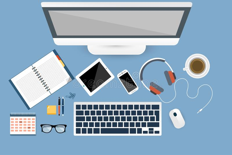 On-line-Arbeitsplatzkameralaptop in der Draufsicht stock abbildung