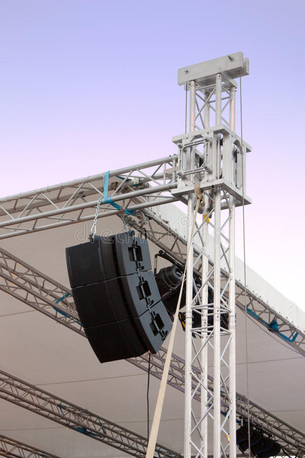 Download Line Array Speakers On Music Stage Stock Photo - Image of auditory, music: 13427332
