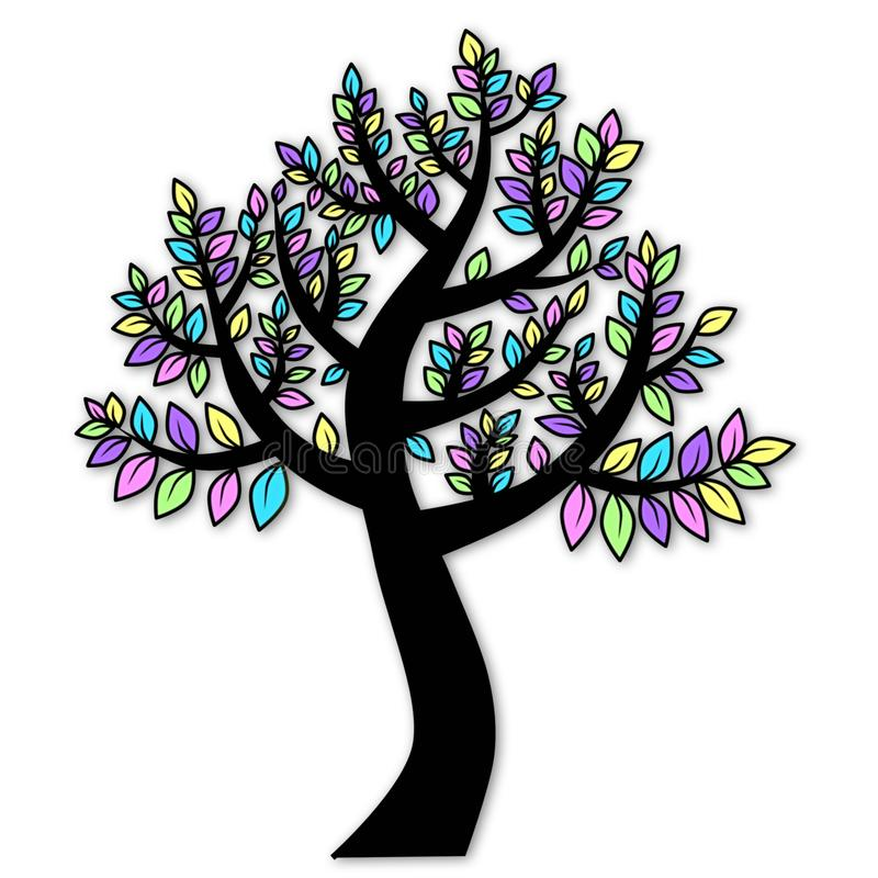 Black tree silhouette with colorful leaves line art drawing illustration isolated on white background. Line art abstract drawing illustration featuring a royalty free illustration