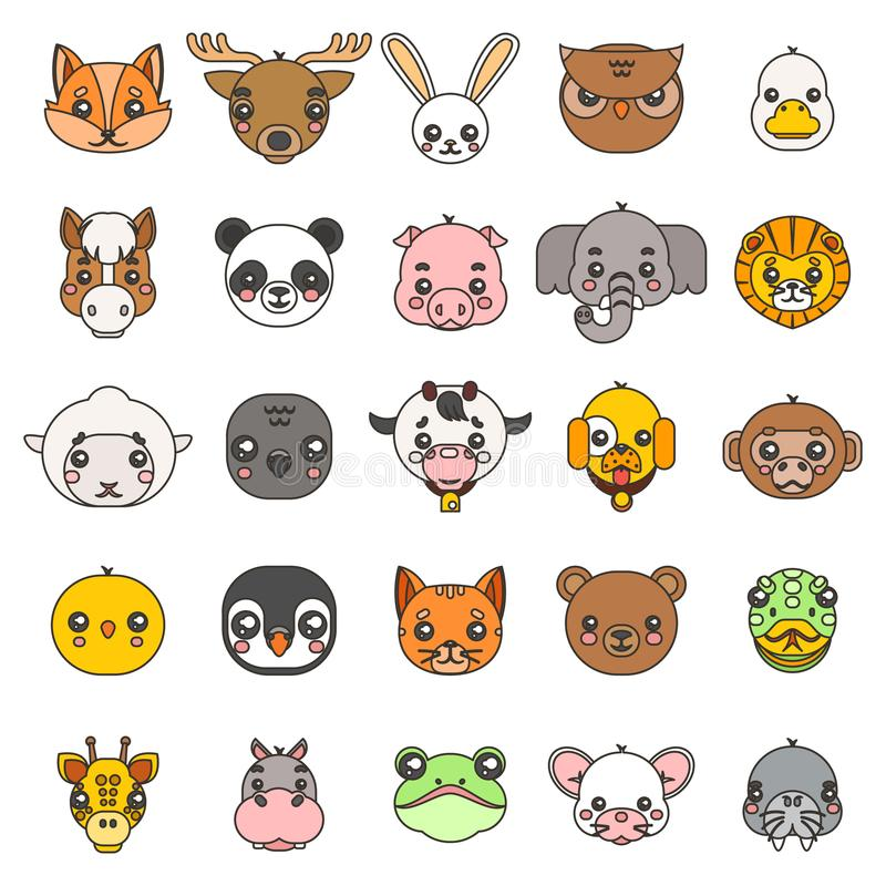Line art animals cute baby cartoon cubs flat design head icons set character vector illustration. Line art animals cute baby cartoon cubs flat head design icons stock illustration