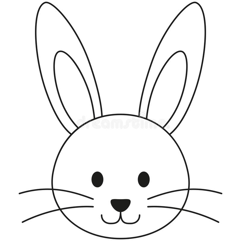 Free Line Art Black And White Rabbit Bunny Face Icon Poster. Stock Photography - 109380792