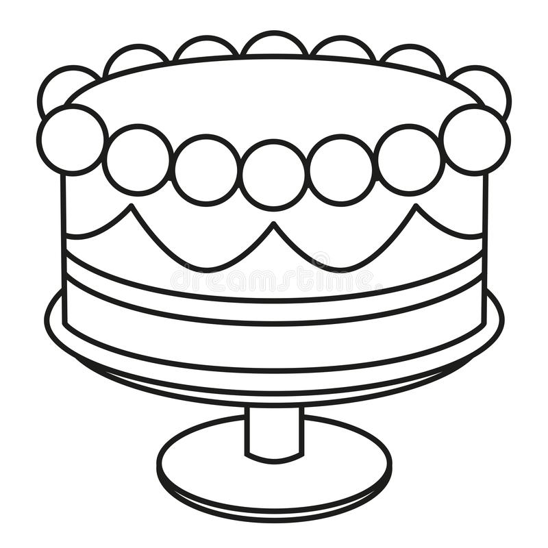 Awe Inspiring Line Art Black And White Birthday Cake On Stand Stock Vector Funny Birthday Cards Online Alyptdamsfinfo