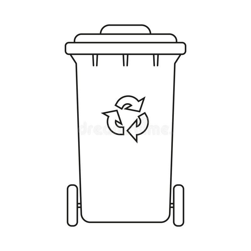 Line art black and white closed dumpster stock illustration