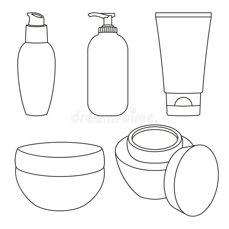 Line art black and white cosmetic bottles set. St valentine gift for woman. Beauty themed vector illustration for stamp, label, certificate, badge, brochure stock illustration