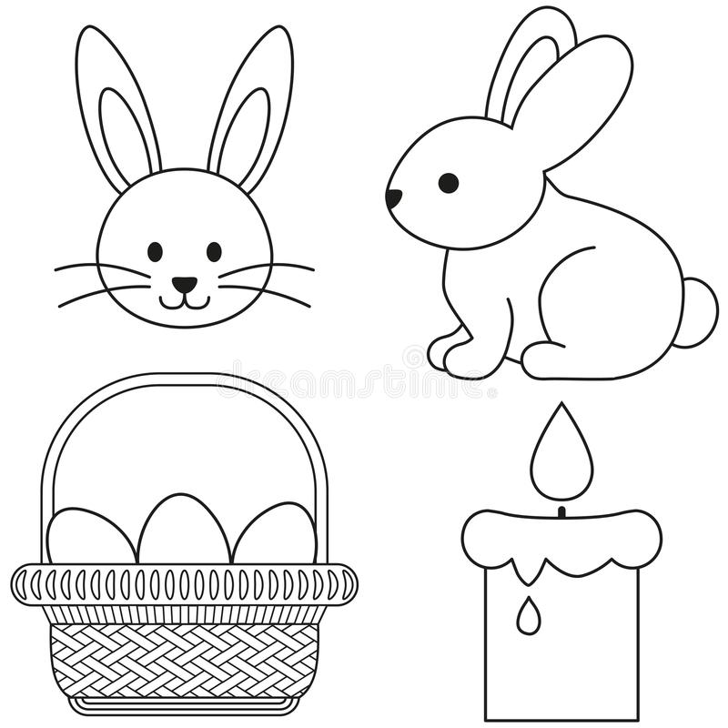 Line art black and white easter icon set bunny candle egg basket icon poster. Line art black and white easter icon set bunny candle egg basket. Coloring book royalty free illustration