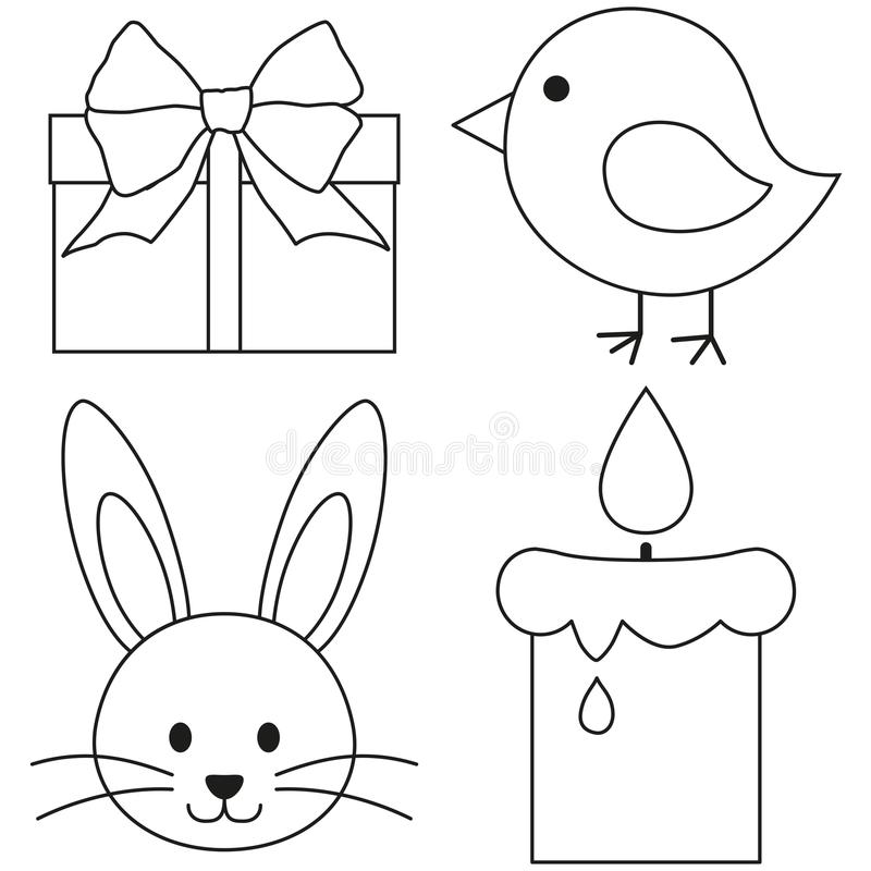 Line art black and white easter icon set chicken chick bunny face candle, gift box. royalty free illustration