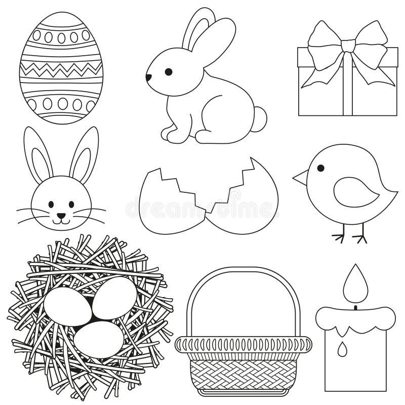 Line art black and white easter icon set 9 elements. vector illustration