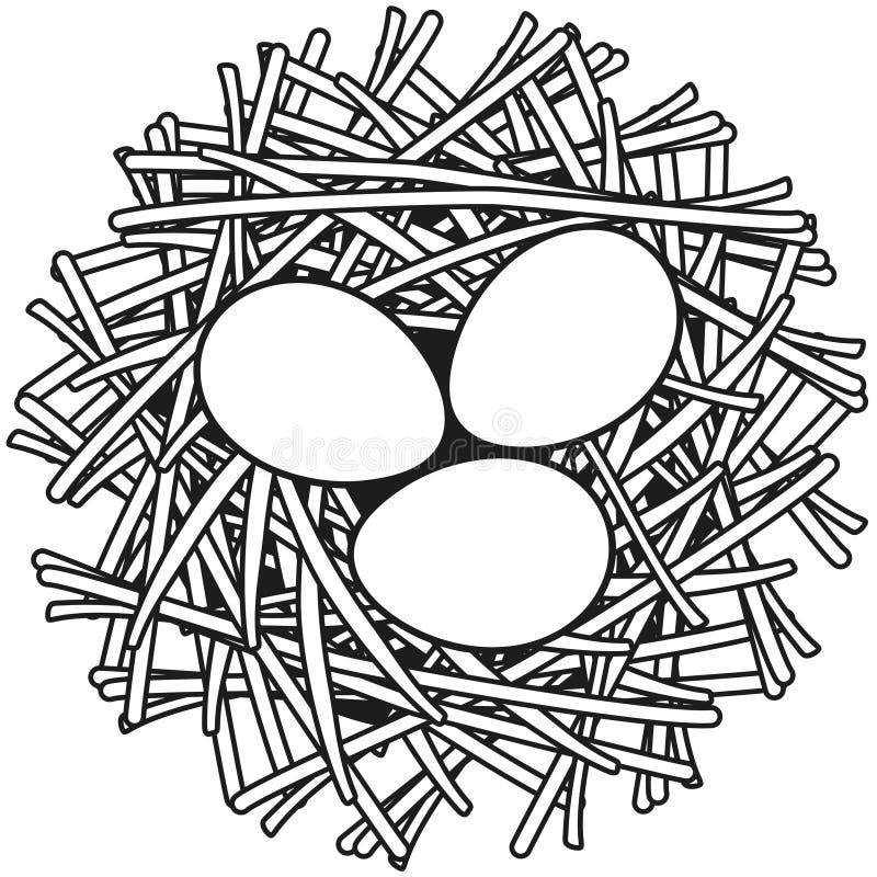 Line art black and white egg nest icon poster. royalty free illustration