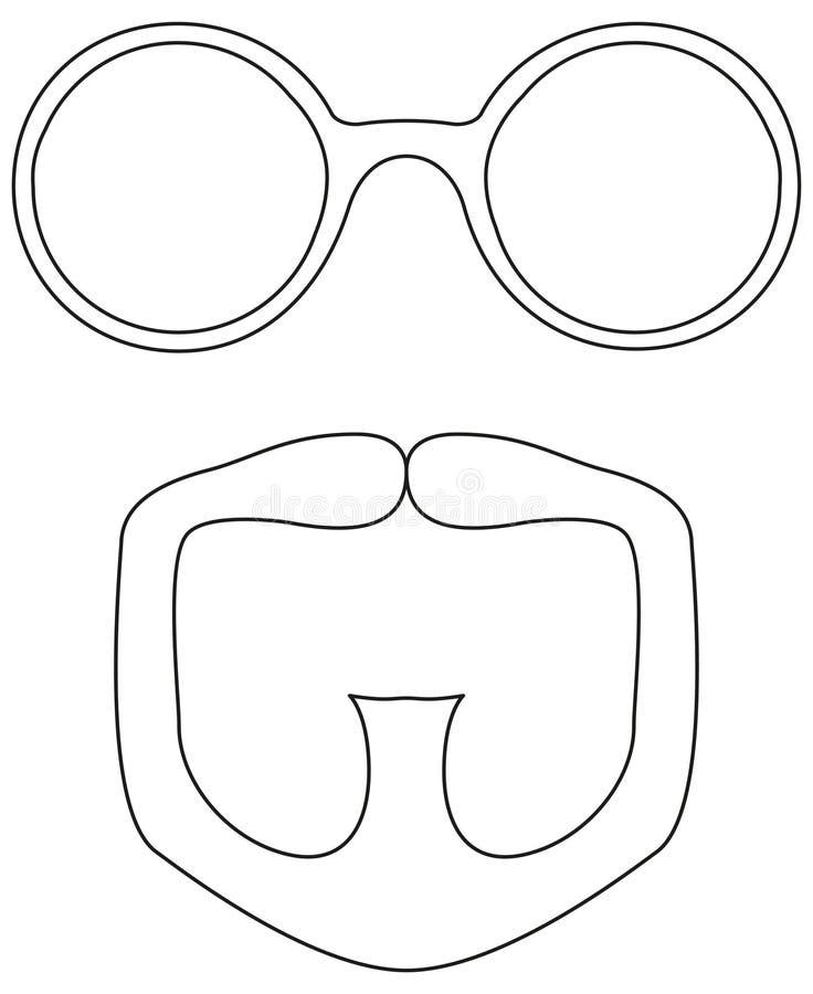Line art black and white goatee glasses set. Fashion vector illustration for gift card certificate sticker, badge, sign, stamp, logo, label, icon, poster vector illustration